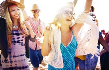 42956363 - teenagers friends beach party happiness concept