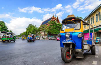 43015349 - blue tuk tuk, thai traditional taxi in bangkok thailand.